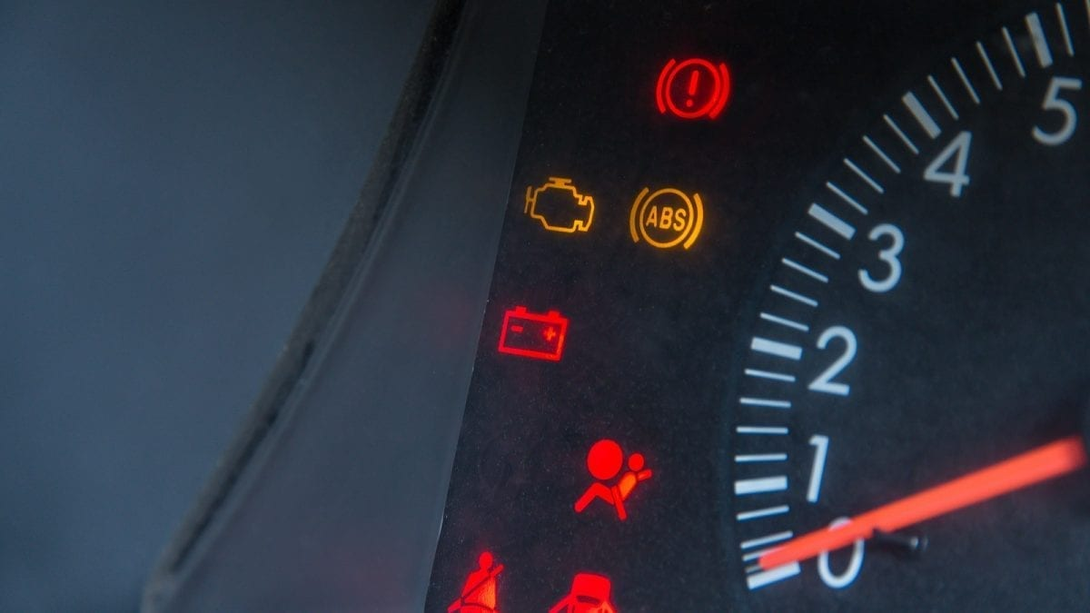 Screen Display Of Car Status Warning Light On Dashboard Panel Sy